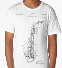 Saxophone Patent Drawing From 1933 Long T-Shirt