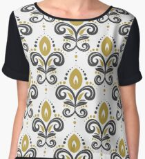 Stylised playful flowers with white background Women's Chiffon Top