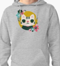 Cat in a Sweater / Cute Animal / Flowers Pullover Hoodie