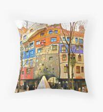 Hundertwasser House Vienna Throw Pillow