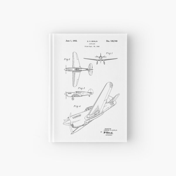 Airplane Patent 1942 Hardcover Journal