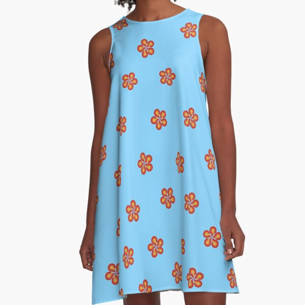 Aloha Airlines Flower Pattern A-Line Dress