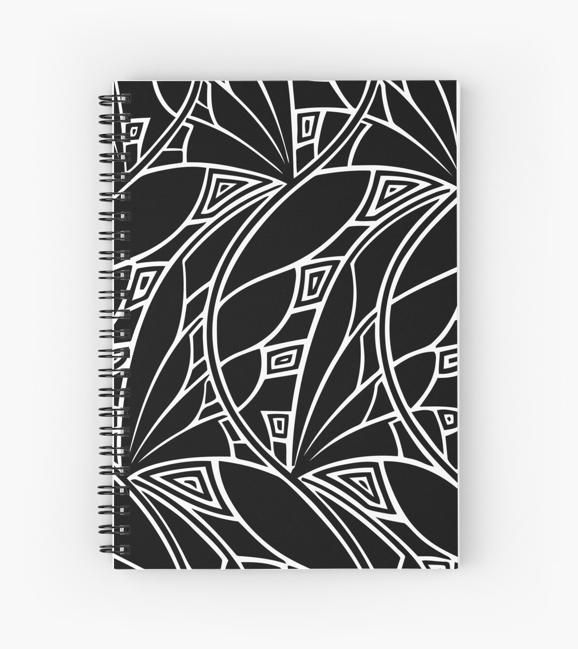 Modern art nouveau tessellations black and white spiral notebook by aapshop redbubble