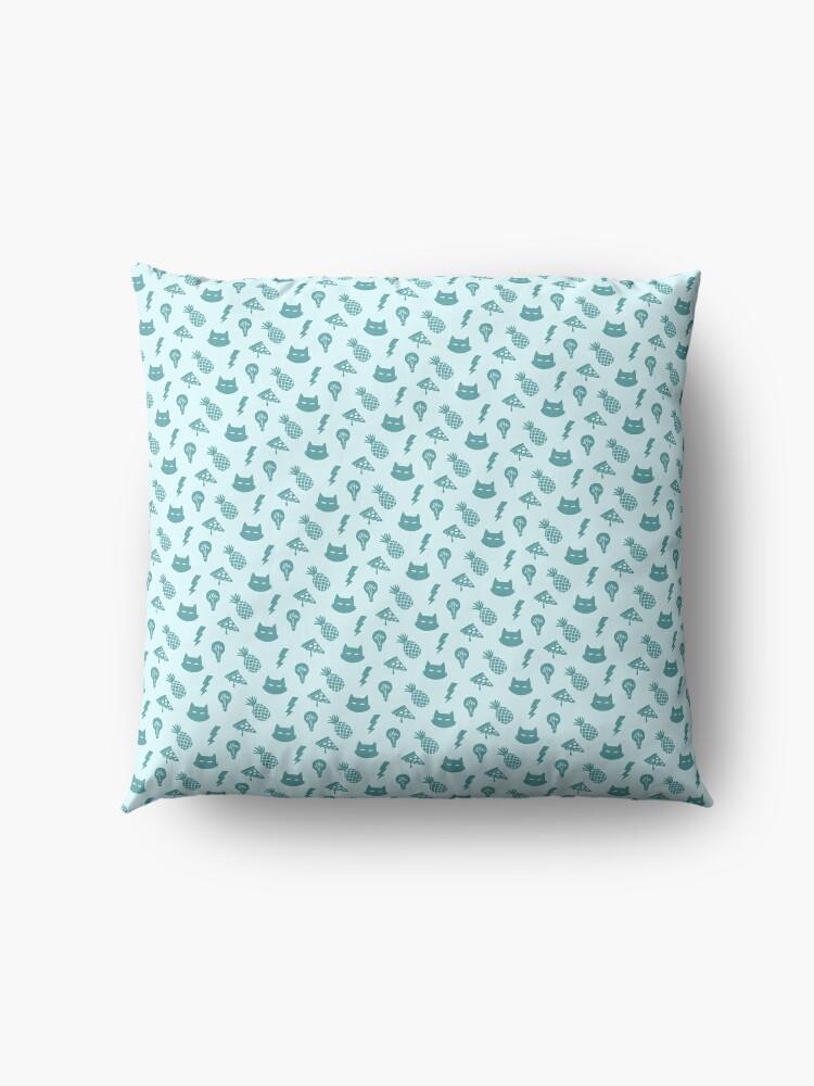 Alternate view of pizza pineapple cat pattern Floor Pillow