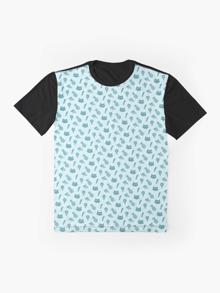 Alternate view of pizza pineapple cat pattern Graphic T-Shirt