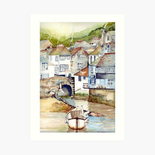 Low Tide Polperro Art Print