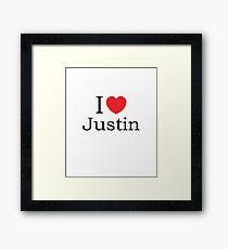 I Love Justin - With Simple Love Heart Framed Print