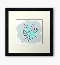Happy blue elephant Framed Print