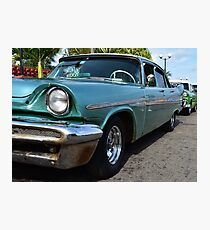 Turquoise Classic Car in Cuba Photographic Print