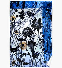 Japanase Windflowers - Chine Colle Woodcut Poster