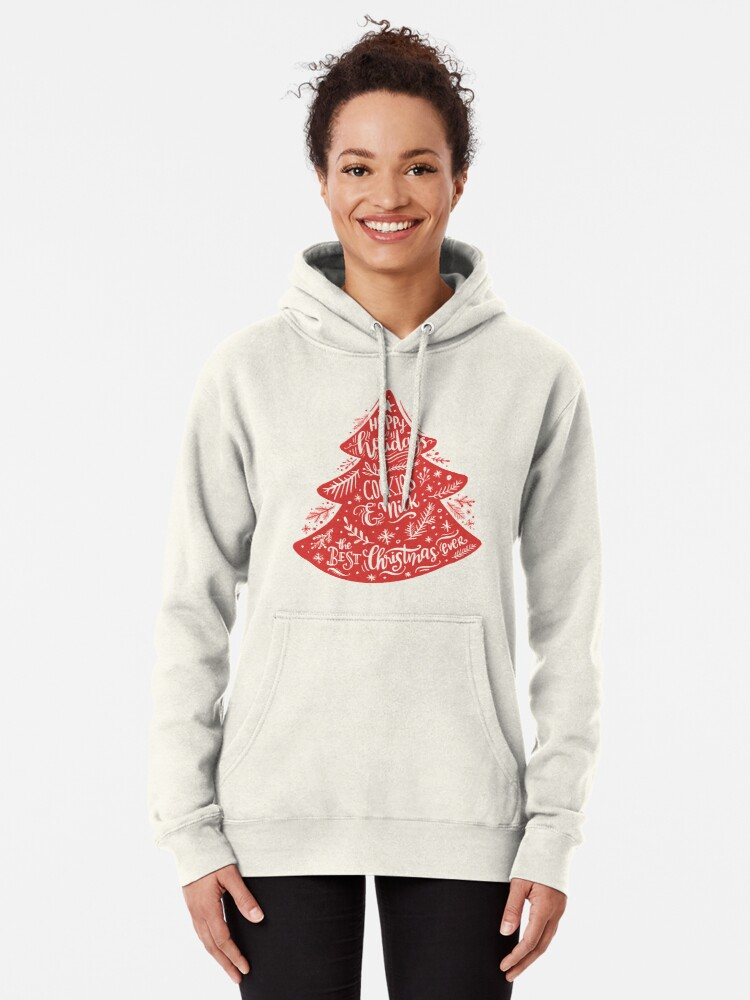 Alternate view of Christmas Pattern - Happy Holidays! Pullover Hoodie
