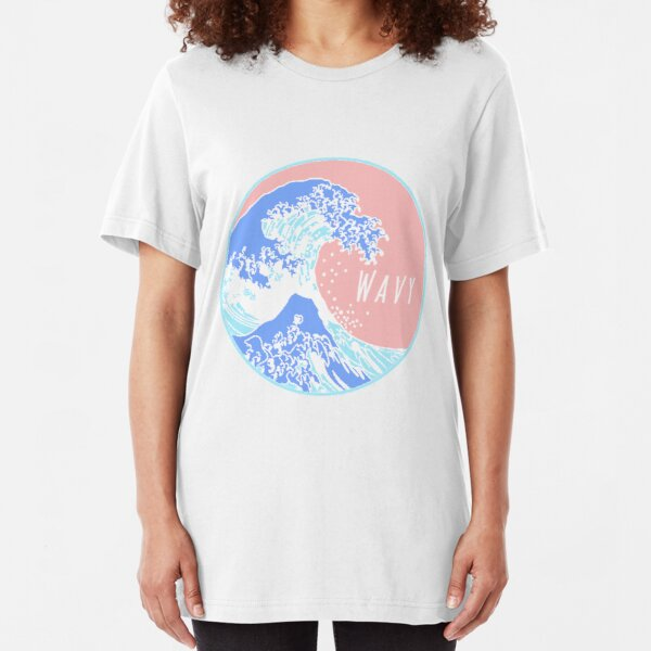 Aesthetic Great Wave Wavy Slim Fit T-Shirt