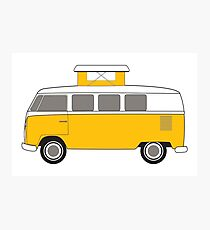vintage yellow camper bus Photographic Print