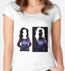 Girl with NASA logo vector art black and white Women's Fitted Scoop T-Shirt