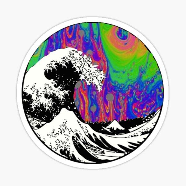 Tapisserie à vagues esthétiques Trippy Sticker