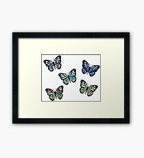 Cute Patterned, Flying Butterflies Pack of 5 Framed Print
