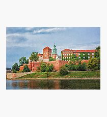 Drawing, illustration old town, Wawel Castle and Vistula river, Krakow, Poland Photographic Print