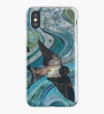 Twisting & Turning - Swallows Embroidery - Textile Art iPhone Case/Skin