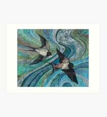 Twisting & Turning - Swallows Embroidery - Textile Art Art Print