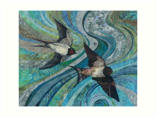 Twisting & Turning - Swallows Embroidery - Textile Art by Rachel Wright