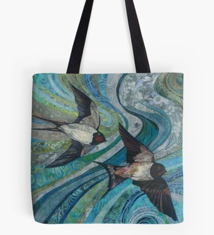 Twisting & Turning - Swallows Embroidery - Textile Art Tote Bag