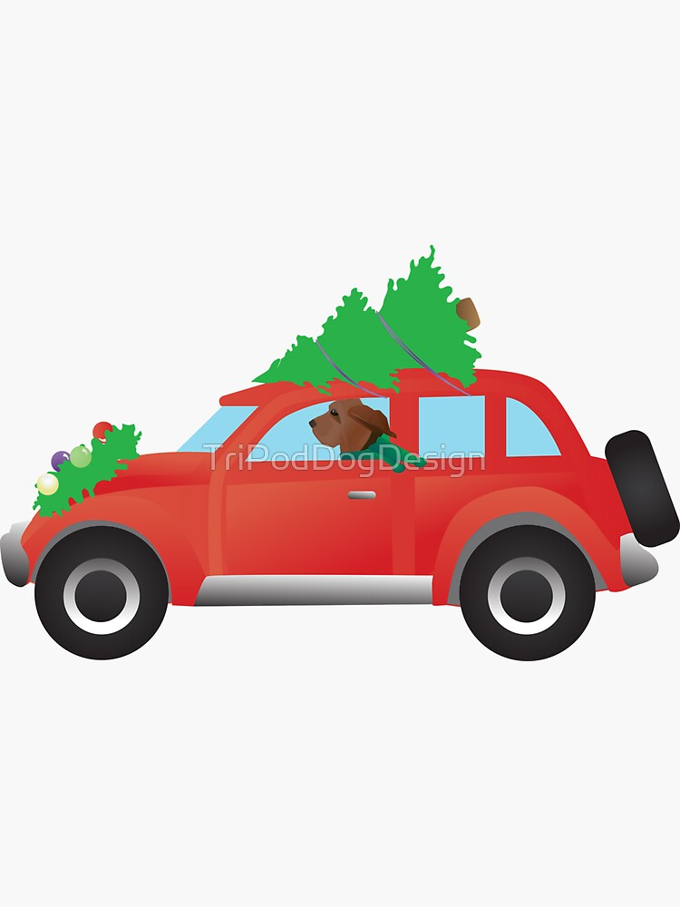 Bloodhound Dog Driving a Red Christmas Car by TriPodDogDesign