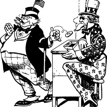 Vintage Political Cartoon - Corporate Taxes -  Government Corruption - Uncle Sam - Fat Cat Bankers - Kickbacks - Oligarchy  by 321Outright