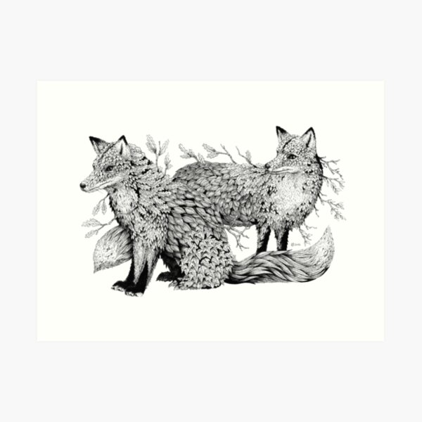 Leaf Foxes  Art Print