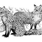 Leaf Foxes  by Brett Miley