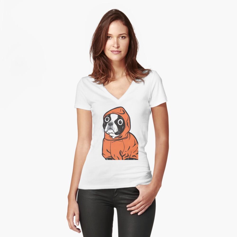 Boston Terrier Orange Hoodie Fitted V-Neck T-Shirt