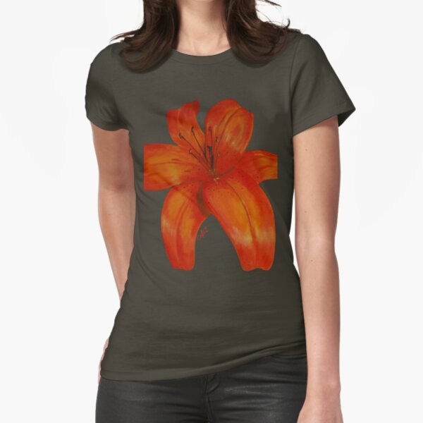 Orange Lily Fitted T-Shirt