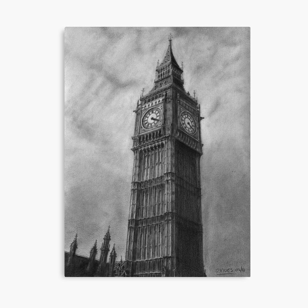 Big ben london pencil drawing canvas print