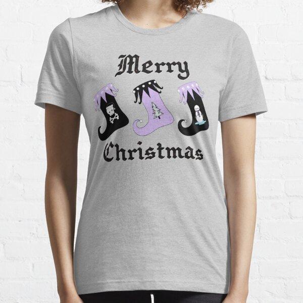 Merry Christmas Pastel Goth Elf Stockings Essential T-Shirt