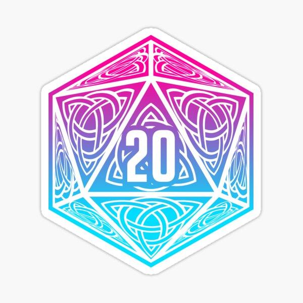 DnD d20 Die | Magenta-Cyan Gradient (Original) Sticker