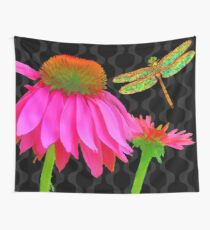 Flower Pop, floral Pop Art Echinacea, dragonfly Wall Tapestry