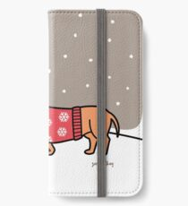 Christmas Dachshund in the Snow iPhone Wallet/Case/Skin