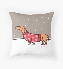 Christmas Dachshund in the Snow Floor Pillow