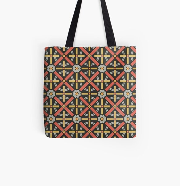 Bold geometric retro pattern designed by Christopher Dresser – State Library Victoria All Over Print Tote Bag