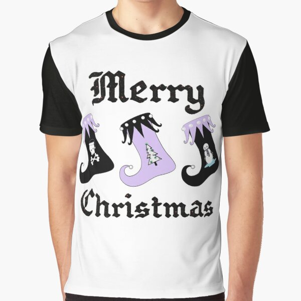 Merry Christmas Pastel Goth Elf Stockings Graphic T-Shirt