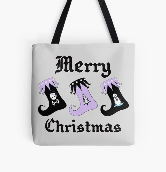 Merry Christmas Pastel Goth Elf Stockings All Over Print Tote Bag