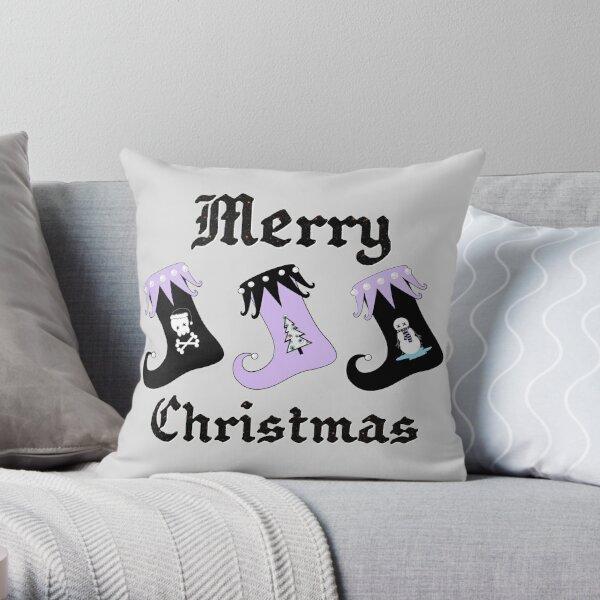 Merry Christmas Pastel Goth Elf Stockings Throw Pillow