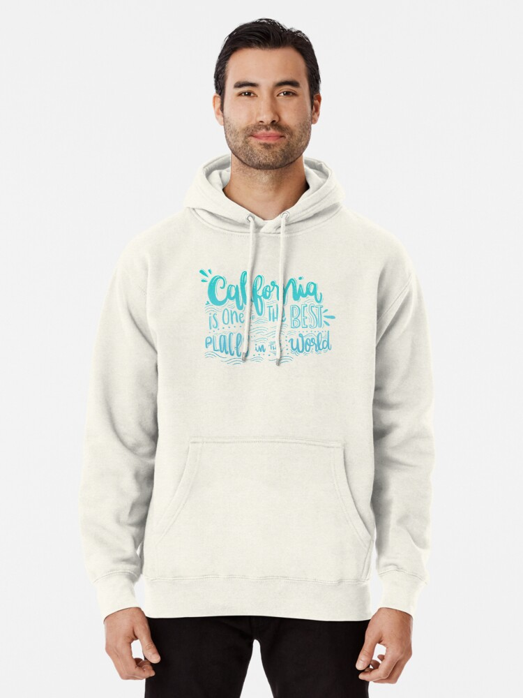 Alternate view of California - Once of the best places in the world! Calligraphic hand writing Pullover Hoodie