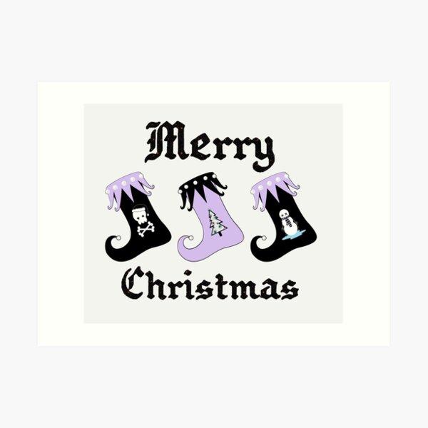 Merry Christmas Pastel Goth Elf Stockings Art Print