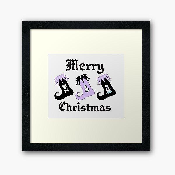 Merry Christmas Pastel Goth Elf Stockings Framed Art Print