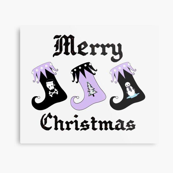 Merry Christmas Pastel Goth Elf Stockings Metal Print