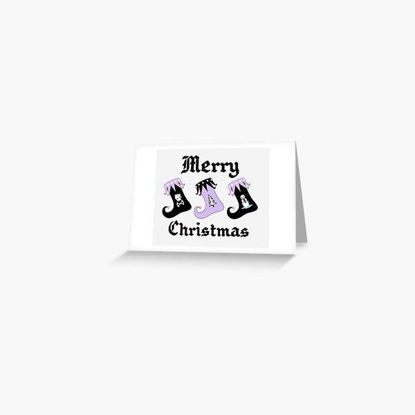 Merry Christmas Pastel Goth Elf Stockings Greeting Card
