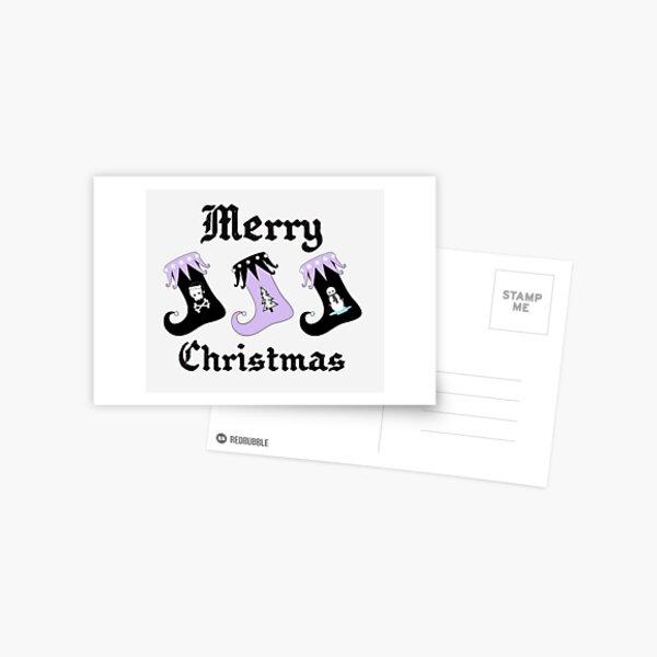 Merry Christmas Pastel Goth Elf Stockings Postcard