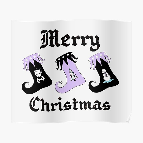 Merry Christmas Pastel Goth Elf Stockings Poster