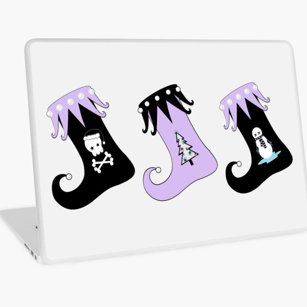 Merry Christmas Pastel Goth Elf Stockings Laptop Skin