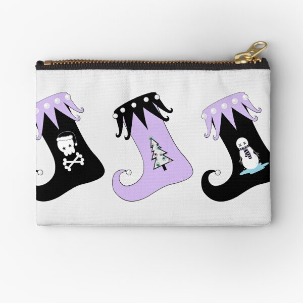 Merry Christmas Pastel Goth Elf Stockings Zipper Pouch